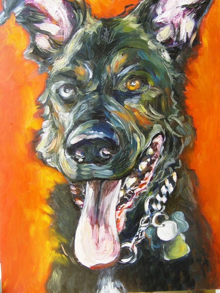 "A very ""bad"" dog-the very best kind. commissioned portrait"
