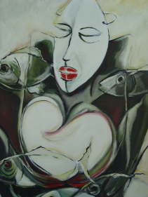 Available -36 by 30 acrylic on canvas 950.00-its about maternal love, identity and loss.