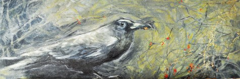 Paul's Crow, Acrylic, Oil, tar gel on cradle board, 8 inches by 24 SOLD