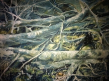 Shiny Wants Deep Wood, Acrylic on Cradle Board, 8 inches by 11 inches sold -