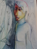 Sold- Self Portrait-also in the masked women series-oil on paper. Comes Framed