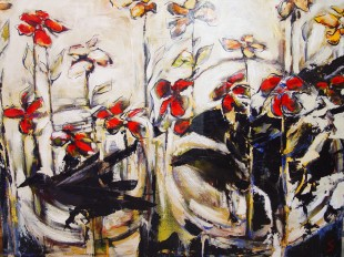 Riot in the Garden, acrylic on canvas, 4 feet by 5feet 4,500.00