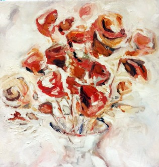 Floral Study, Oil on canvas, 10 by 10. NFS