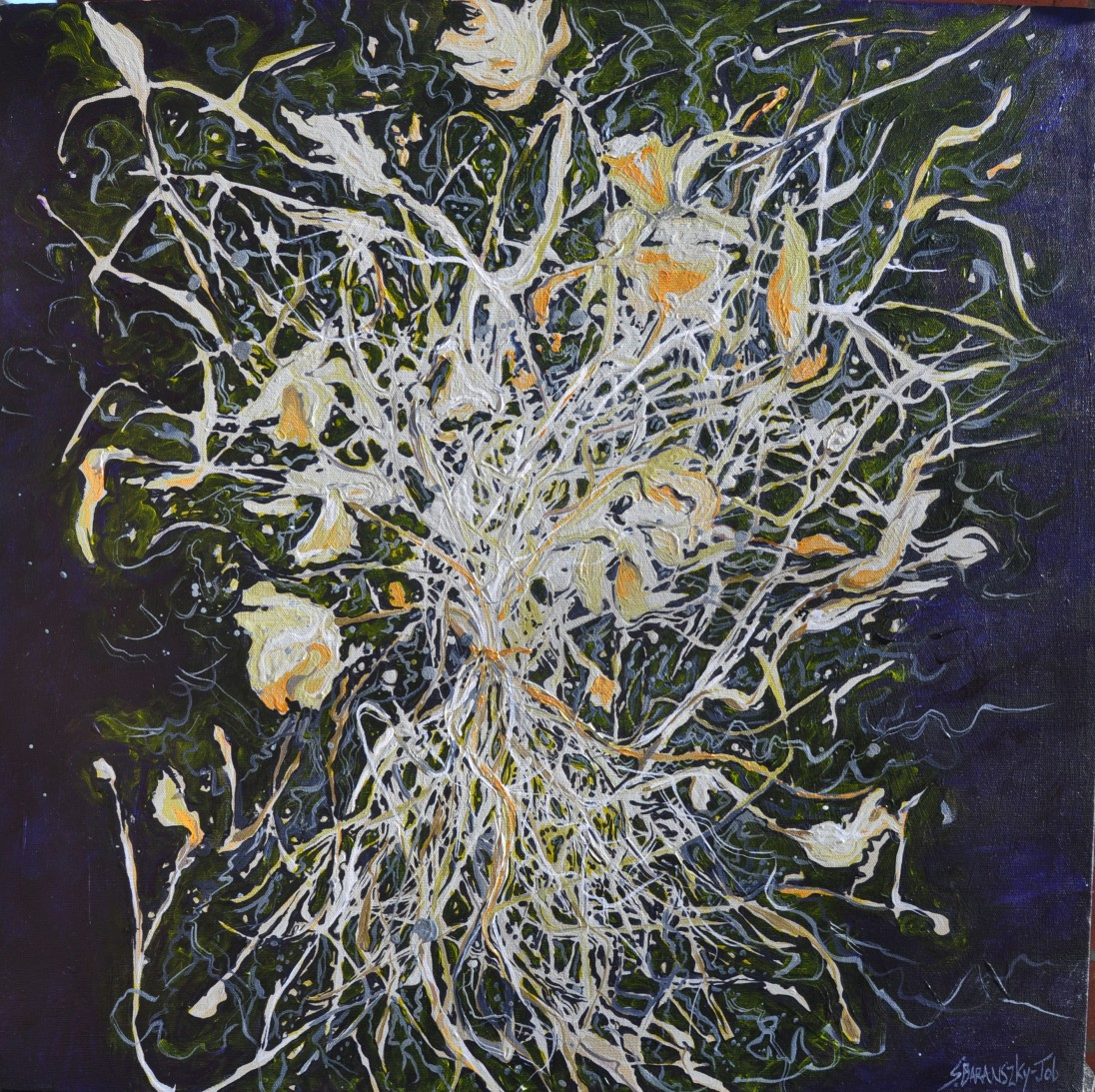 Night After Tangle, 24 by 24, Acrylic on Canvas 750.00