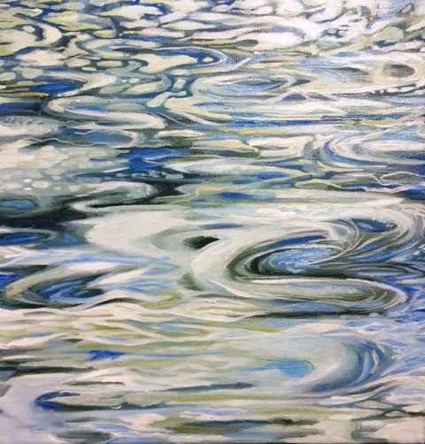 Water Study, 10 by 10, oil on canvas. 175.00