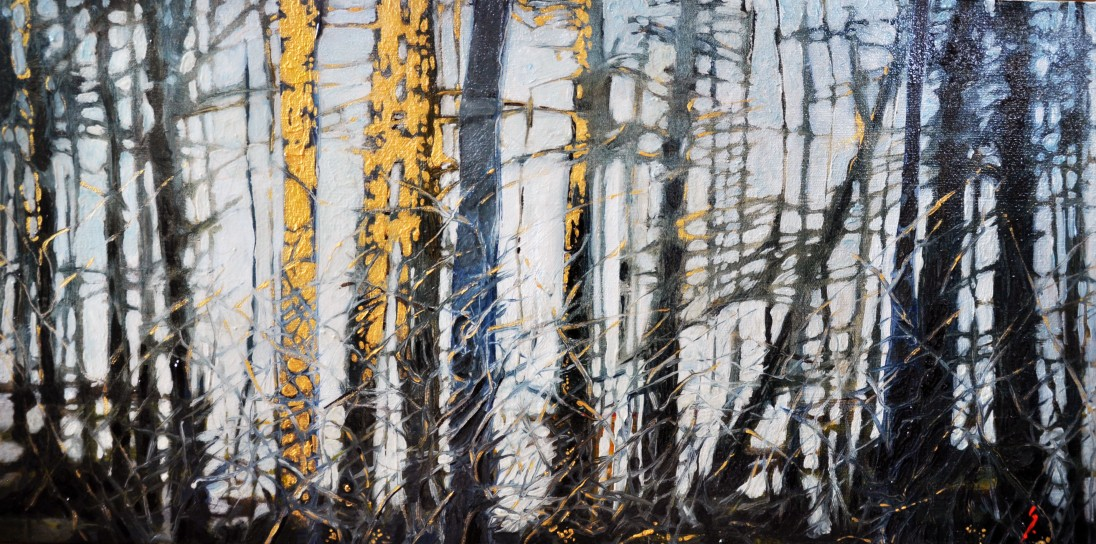 Shiny and the Woods, 2014, 12x24 oil on canvas, tar gel sold