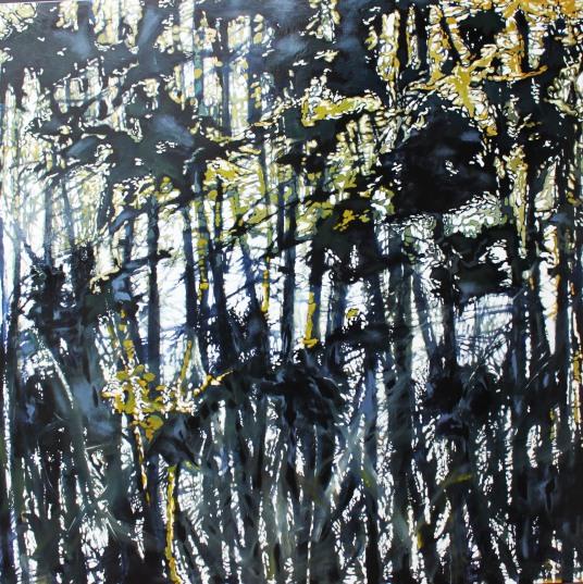 Deep Dark Tangle, acrylic on canvas, 48 by 48, 4,000