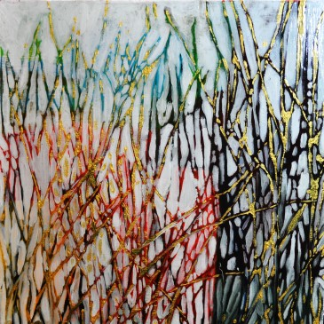 Fall LInes Acrylic on Cradle Board, 8 by 8, SOLD