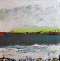 Shore Lines, Acrylic on Cradle Board, 8 by 8, 100.00