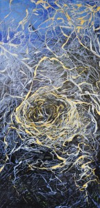 Gold String Blues acrylic on Canvas 18 by 36 SOLD