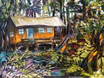 The Nest, Galiano, Oil on Cradle board, 8 by 11 NFS