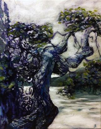 Garry Oak Study 2, NFS, 11 by 14, acrylic on canvas