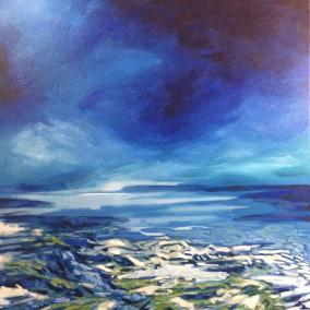 """Feeling Edgy"" 24 by 24 acrylic on canvas, 550.00"