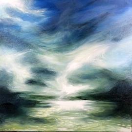 """Horizon Mosh Pit"" 24 by 24 acrylic on canvas 550.00"