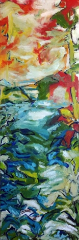 """""""It's a Bit of a Blur"""" 36 by 12 acrylic on canvas SOLD"""