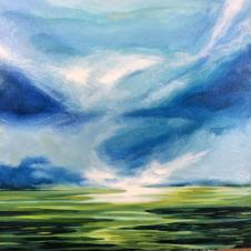 New Horizon Blues, acrylic on canvas 24 by 24 550.00