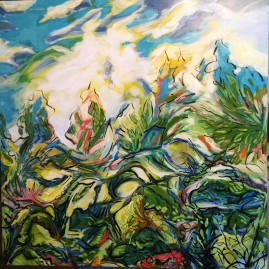 What A Riot, 36 by 36, acrylic on canvas SOLD